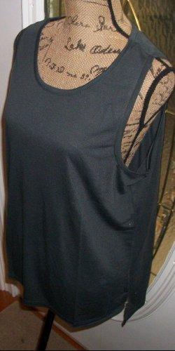New Zip back tank shirt blouse MACYS Extra Touch hi lo 2X slit hip dark gray top