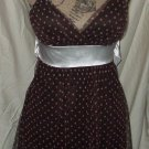 $58 dress TABOO brown white polka dots sheer draping M spaghetti strap poly top