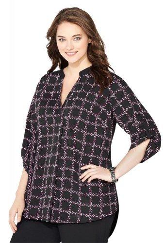 NWT $55 roll sleeve AVENUE berry plaid sharkbite blouse 1X tunic top runs big