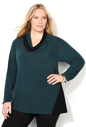 NWT $48 teal color block cowlneck AVENUE knit hatchi sweater blouse 4X plus top