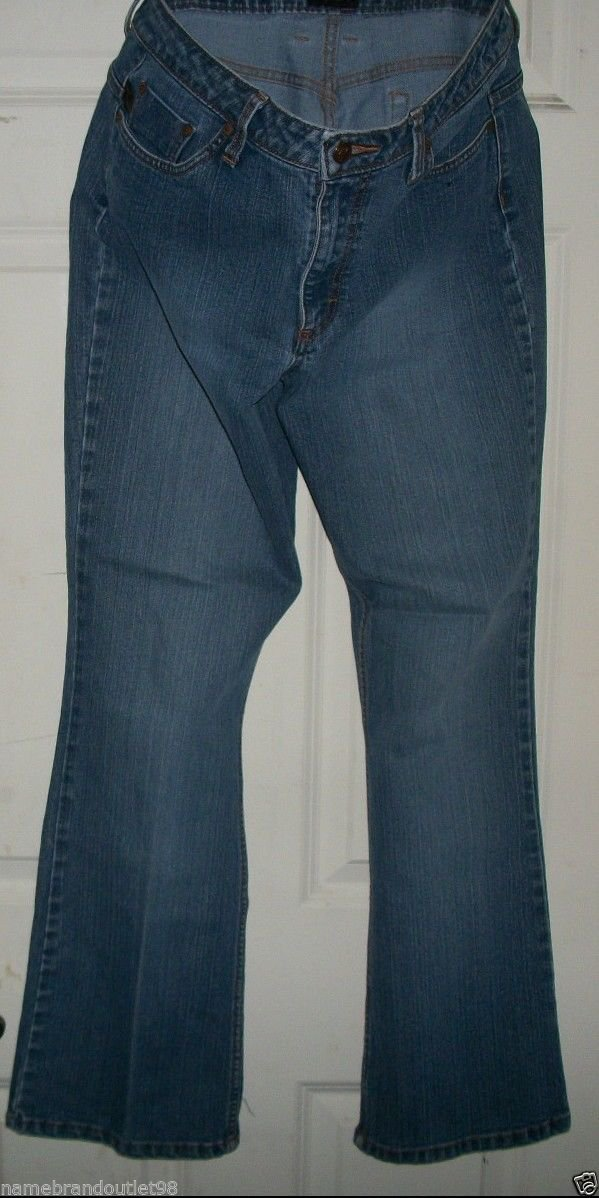 "$44 cotton JEANS size 11/12 Medium RIDERS 31"" in low rise bootcut 22"" hip to hip"