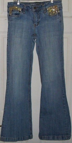 Gold Sequin jeans CHARLOTTE RUSSE Refuge premium medium wash size 9 flare