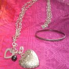"fine old style jewelry pendent silver tone chain necklace 36"" & ring bracelet"