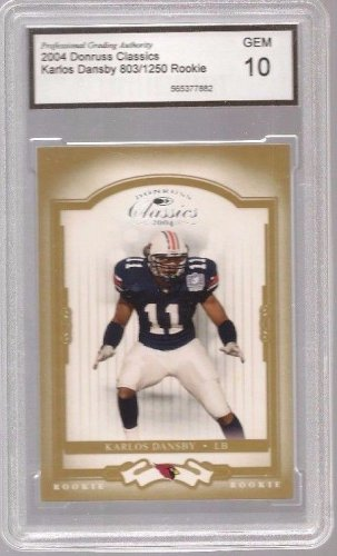 KARLOS DANSBY SP RC /1250 BROWNS 2004 Auburn Tigers GRADED Gem 10 football card