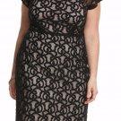 NWT $89 black floral lace dress LANE BRYANT net shoulder soft lined size 28