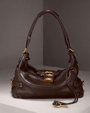 BROWN LEATHER BAG WITH BRASS TONE HARDWARE DARK CHOCOLATE