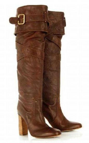 CP DARK CHOCOLATE BROWN CROSS STRAP BOOTS