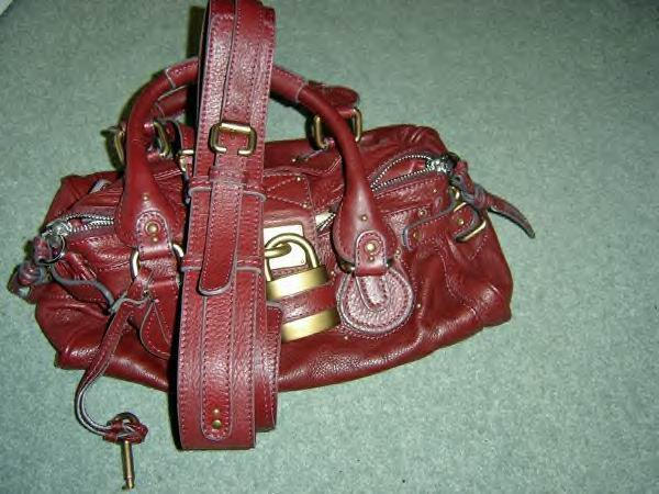 DEEP RED LEATHER WITH SHOULDER STRAP