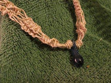 Macrame Necklace w/Dark Blue Bead (MJ006)