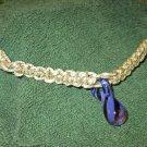 Macrame Necklace w/Blue Striped Bead (MJ008)