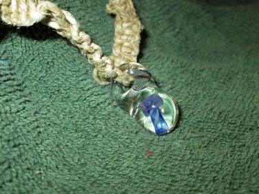 Macrame Necklace w/Clear Mushroom Bead (MJ021)