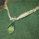 Macrame Necklace w/Clear Rose Bead (MJ022)