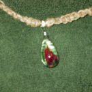 Macrame Necklace w/Clear Rose Bead (MJ028)
