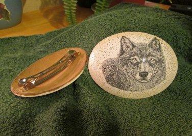 Scrimshaw Wolf Barrette (SS002)