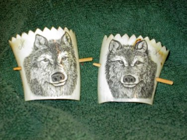 Scrimshaw Hair Ties w/Wolf Design (SS011)