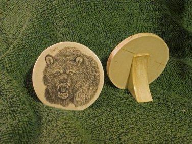 Scrimshaw Decor Disk w/Bear Design (SS012)