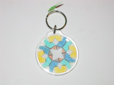 Round Key Ring w/Snowflake Design (KR010)