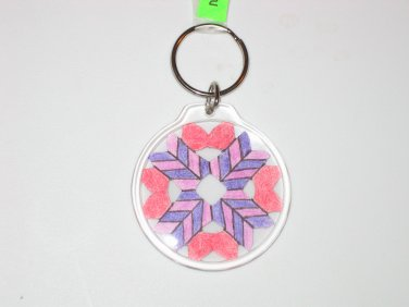 Round Key Ring w/Snowflake Design (KR011)
