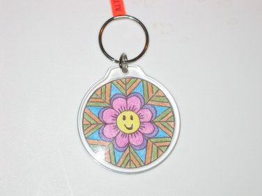 Round Key Ring w/Happy Face Design (KR012)