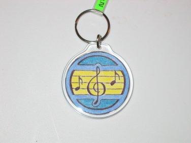 Round Key Ring w/Musical Symbols (KR017)