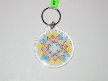 Round Key Ring w/Snowflake Design (KR022)