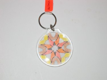 Round Key Ring w/Snowflake Design (KR027)