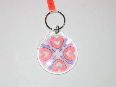 Round Key Ring w/Snowflake Design (KR029)