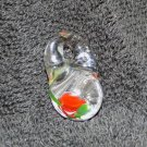 Chubby Hand Blown Glass Bead w/Red Rose Inside (GL027)