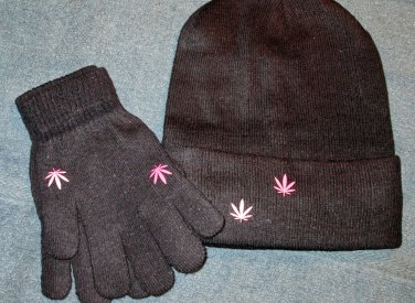 Black Beanie and Glove Set w/Pot Leaf Design (MC009)
