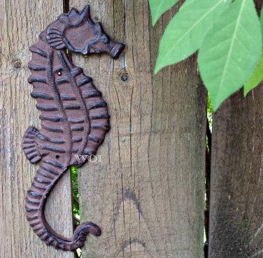 Distressed Metal Work Seahorse Plaque Sea Monster Fish Sculpture Marine Art Rust