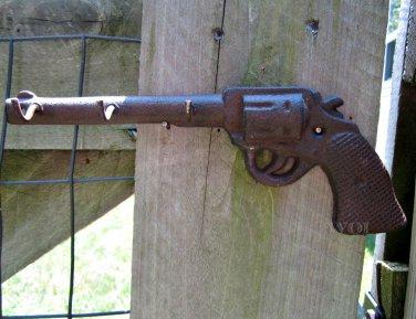 Rustic Western Country Cowboy Revolver Hand Gun Pistol Hanging Key Hook Hanger Six Shooter