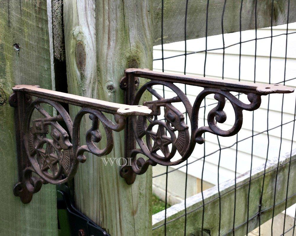 2 Rustic Cast Iron Hanging Wall Brackets Shelf Brace
