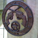 Old West Country Western Cross Guns Emblem Metal Star Disc Cast Iron Plaque Rustic Pistol Sign Rust