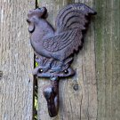 Distressed Rustic Metal Country Rooster Wall Hook Farm Chicken Utensil Hanger Worn Rust