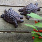 Set of 2 Rustic Metal Turtle Statue Figure Garden Animal Decor Flower Bed Yard Art Prop