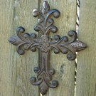 Cast Iron Rustic Fleur De Lis Spiritual Cross Wall Hanging Crucifix Metal Art Plaque Rust