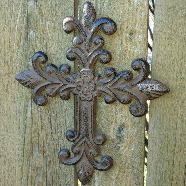 Cast Iron Rustic Fleur De Lis Spiritual Cross Wall Hanging Crucifix Metal Art Plaque Rust