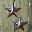 Set of 2 Brown Hanging Tin Star Indoor Outdoor Accent Home Garden Decor Celestial Prop Stars