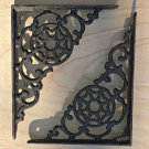 2 Metal Work Cast Iron Shelf Bracket Wall Mount Brace Victorian Design Rustic Shelving Support