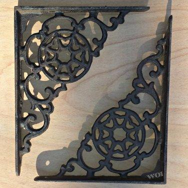 2 Metal Work Cast Iron Shelf Bracket Wall Mount Brace Victorian Design Rustic Shelving Support