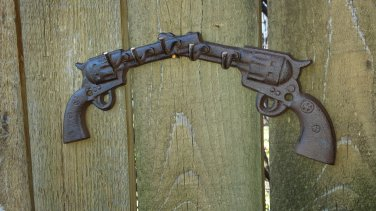 Distressed Western Six Shooter Cross Gun Metal Hanger Key Hook Wall Sculpture Pistol Guns