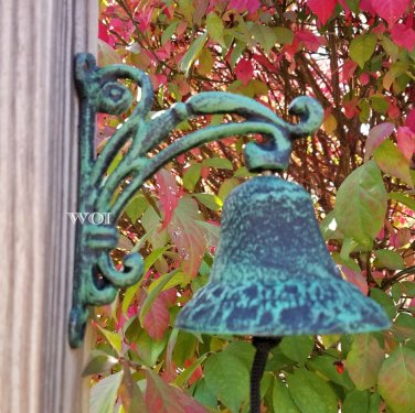 Distressed Outdoor Dinner Bell Cast Iron Mounted Bracket Frame Clapper String Dark Patina