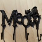 Rustic Kitty Cat Kitten Plaque Kitchen Utility Hook Utensil Hanger Metal Rack Distressed
