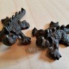 2 Rustic Horned Lizard Dragon Reptile Collectible Figure Garden Animal Figurine Art Statue