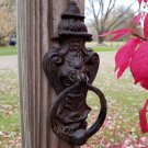 Victorian Style Door Knocker Metal Hinged Ring Fixture Cast Iron Ball Striker Knock Hardware