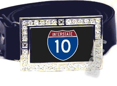 I-10 INTERSTATE 10 SHIELD SYMBOL CZ GLOW RHINESTONE BELT BUCKLE