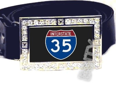 I-35 INTERSTATE 30 SHIELD SYMBOL CZ GLOW RHINESTONE BELT BUCKLE