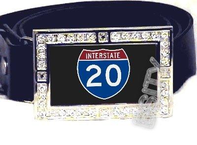 I-20 INTERSTATE 20 SHIELD SYMBOL CZ GLOW RHINESTONE BELT BUCKLE