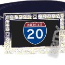 I-20 INTERSTATE 20 SHIELD SYMBOL CZ GLOW RHINESTONE BELT BUCKLE