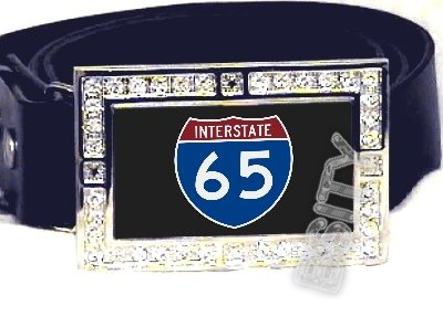 I-65 INTERSTATE 65 SHIELD SYMBOL CZ GLOW RHINESTONE BELT BUCKLE